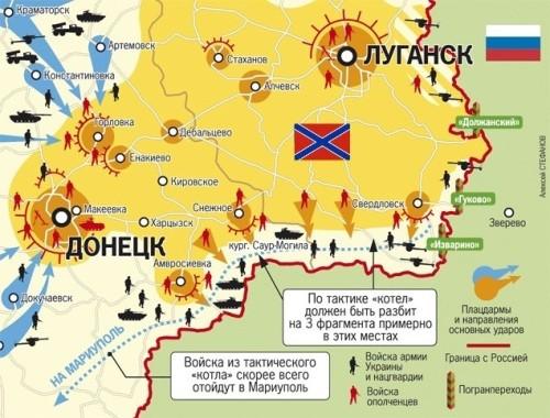 Zovretie ukrajinských síl v južnom koridore. Zdroj: www.politikus.ru