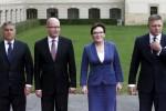 Lídri krajín Vyšehradskej štvorky Viktor Orbán, Bohuslav Sobotka, Ewa Kopaczová a Robert Fico. Zdroj: www.aktuality.sk
