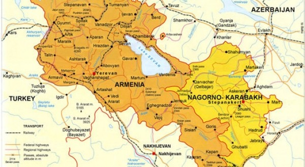 Mapa Arménskej republiky a Náhornokarabašskej republiky. Zdroj: REGNUM