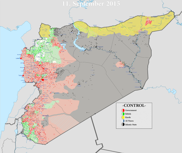 Mapa konfliktu v Sýrii z 11. septembra 2015. Zdroj: www.ibtimes.co.uk