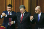 Vladimir Grojsman, Petro Porošenko a Arsenij Jaceňuk. Zdroj: www.nv.ua