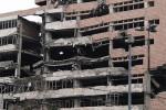 Belehrad, budova ministerstva obrany, zničená počas náletov v roku 1999: Zdroj: Wikipedia