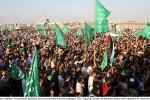Stúpenci Hamasu v meste Rafah protestujú proti uzavretiu hraníc mesta, september 2007.