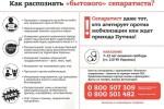 """Leták obsahujúci návod, ako rozpoznať """"všedného"""" separatistu. Zdroj: www.rian.com.ua"""