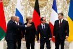 Alexander Lukašenko, Vladimir Putin, Angela Merkelová, François Hollande a Petro Porošenko na rokovaniach v Minsku. Zdroj: ljleaks.ru