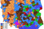 Výsledky parlamentných volieb 2005 podľa regiónov (PiS – Právo aspravodlivosť; PO – Občianska platforma; SLD – Zväz demokratickej ľavice; SO – Sebaobrana; PSL – Poľská ľudová strana; MN – Nemecká menšina). Zdroj: Wikipedia