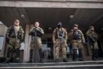 Členovia ľudových milícií Doneckej ľudovej republiky v Slaviansku. Zdroj: www.tagesspiegel.de