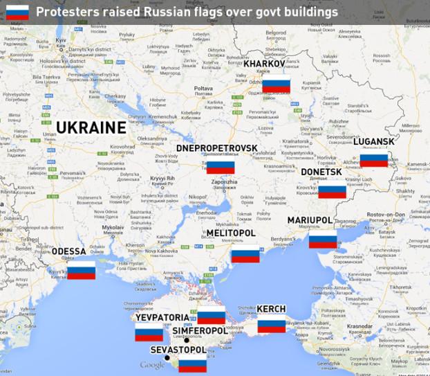 Mapa ukrajinských miest, v ktorých bola na budovy orgánov štátnej správy vyvesená ruská vlajka. Zdroj: www.rt.com