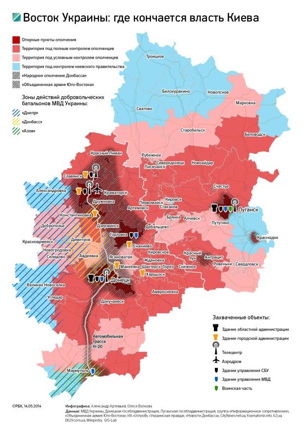 Kde sa končí moc Kyjeva. Situácia v zóne konfliktu k 14. máju 2014. Zdroj: www.rbc.ru