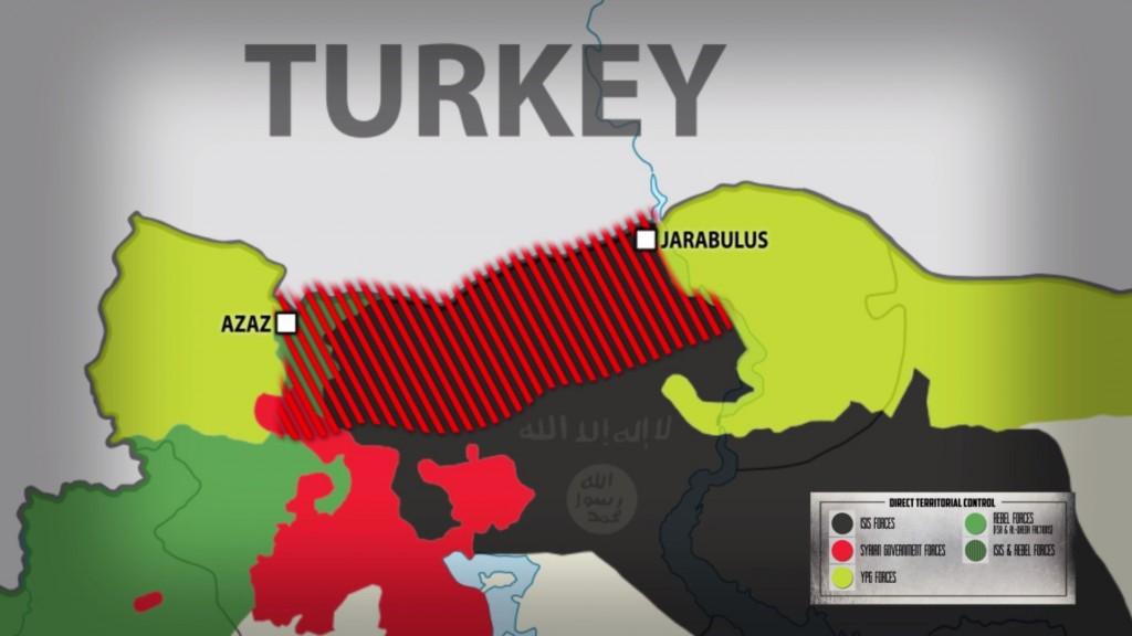 Mapa území ovládanými jednotlivými stranami konfliktu. Zdroj: South Front
