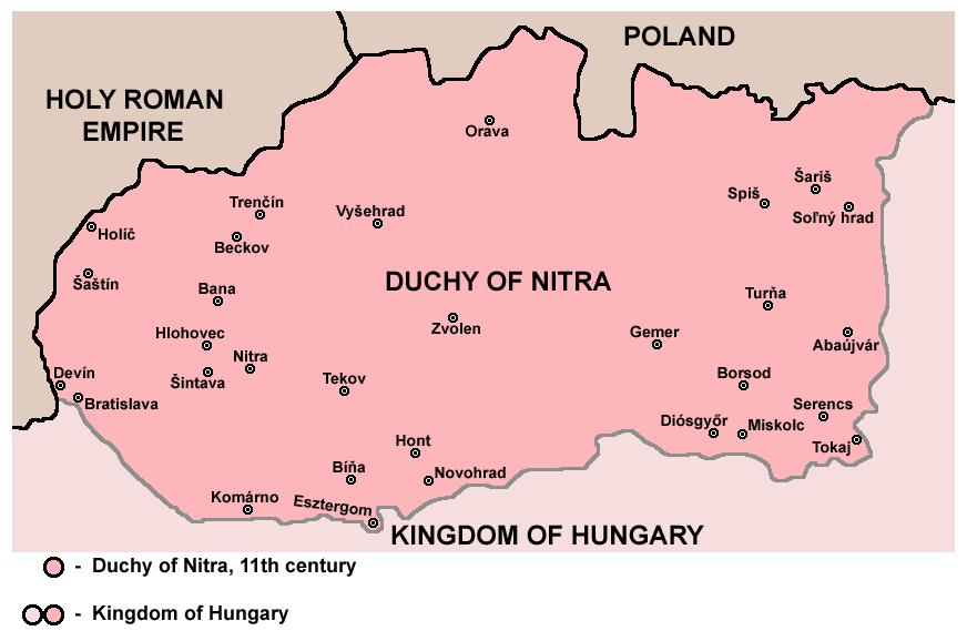 Mapa Nitrianskeho vojvodstva v 11 storočí. Podľa: Teich, M. – Kováč, D. – Brown, M. D. (eds): Slovakia in History. New York : Cambridge University Press 2011, s. 22
