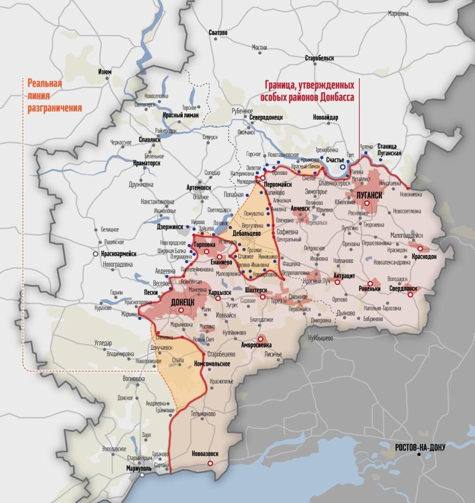 Hranice území s navrhovaným osobitným postavením v porovnaní s reálnou kontaktnou líniou. Zdroj: www.vesti-ukr.com