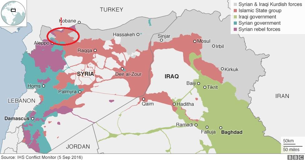 Mapa území ovládaných jednotlivými stranami konfliktu. Zdroj: BBC News
