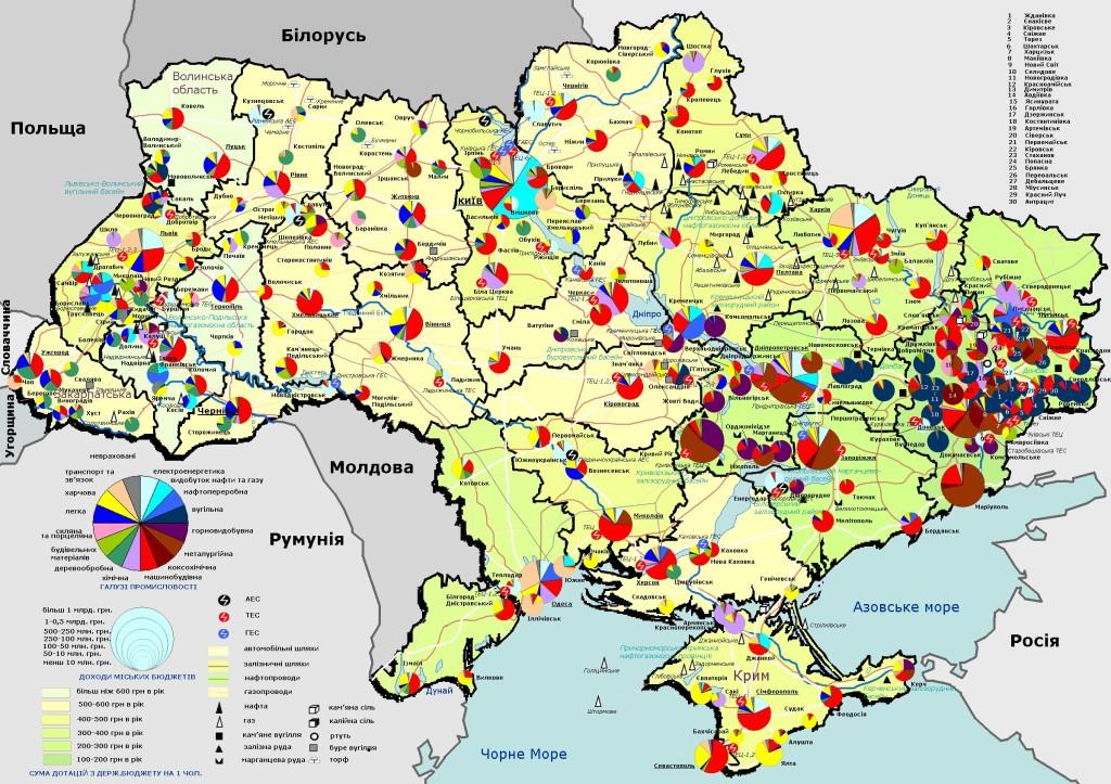 Priemyselná mapa Ukrajiny. Zdroj: karty-ukrainy.com