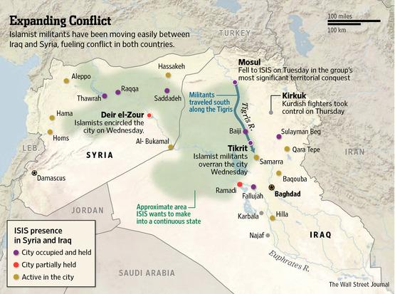 Prítomnosť ISIL v Sýrii a Iraku Zdroj: www.online.wsj.com