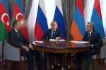 Lídri Azerbajdžanu, Ruska a Arménska Ilcham Alijev, Vladimír Putin a Serž Sargsian. Zdroj: Zdroj: www.haqqin.az