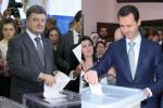 Petro Porošenko a Baššár al-Asad vhadzujú hlasovacie lístky do volebných urien. Zdroje: www.glavred.info / www.shahernama.com