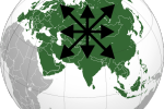 Mapa Eurázie a znak eurazianistického hnutia. Použitý súbor z www.wikipedia.org