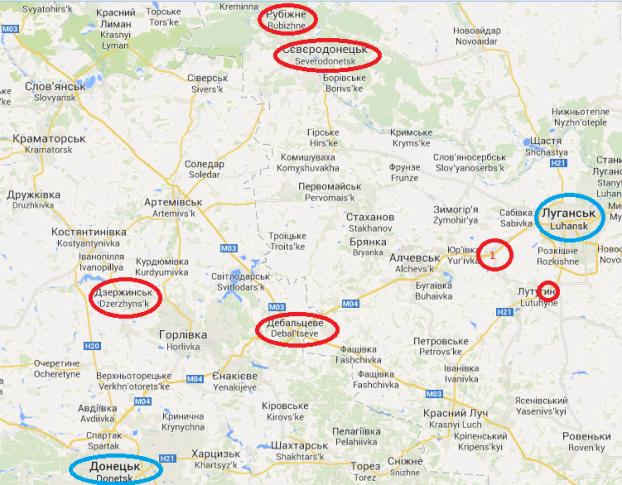 Významné objekty dobyté a obkľúčené ukrajinskými silami v závere 29. – v úvode 30. týždňa roku 2014 (vyznačené červenou); povstalecké bašty (vyznačené modrou) . Zdroj: google.com/maps
