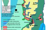 Projekt výstavby ochranného múru, rozdeľujúcu palestínske územie. Zdroj www.gush-shalom.org