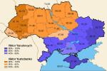 Ukrajina - prezidentské voľby 2004. Volebná mapa. Zdroj: Wikipedia